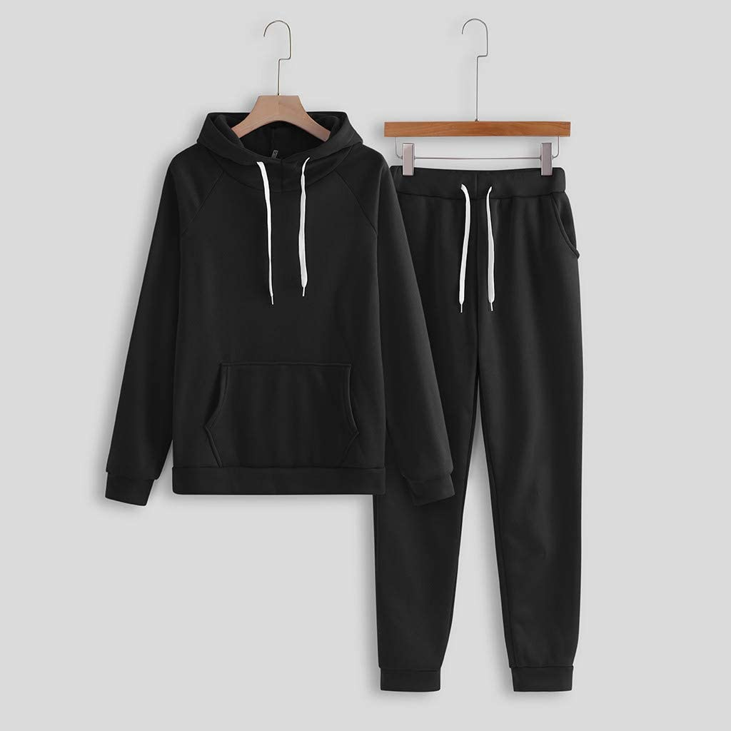 Womens 2 Pieces Long Sleeve Loungewear Sweatsuit Sets Crewneck Outfits Solid Color Pocket Hooded Pullover