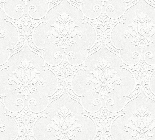 A.S. Création überstreichbare Vliestapete Meistervlies 2020 Tapete 10,05 m x 0,53 m weiß überstreichbar Made in Germany 354761 35476-1