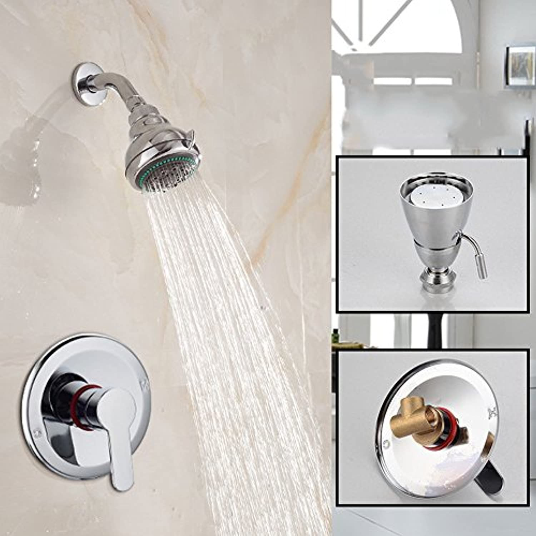 Bijjaladeva Wasserhahn Bad Wasserfall Mischbatterie WaschbeckenDuschkopf Messing bündig an der Wand montierte Single Bad Dusche Wasser Mischen Ventil spülen Regendusche Set Badezi