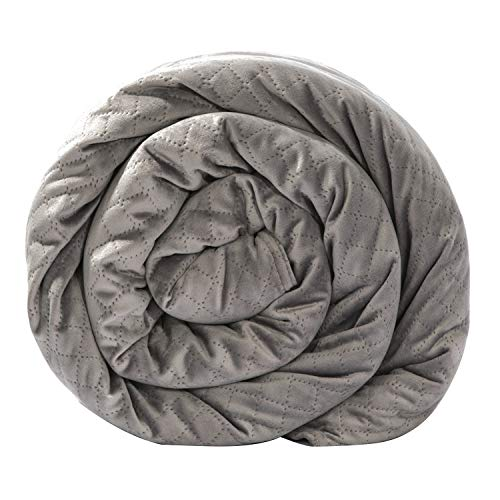 BlanQuil Quilted Weighted Blanket W/ Removable Cover (Grey 20lb)