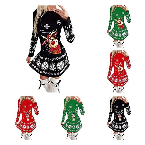 Winterkleid Damen Elegant Weihnachtskleid Frauen Mode Christmas Drucken Strickpullover Langarm Herbst Winter Warm Pulloverkleid Oversize...