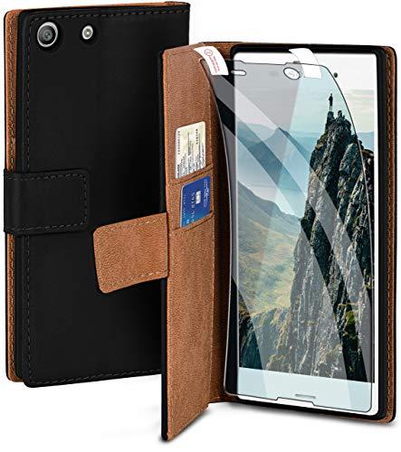 moex Handyhülle für Sony Xperia M5 - Hülle mit Kartenfach, Geldfach & Ständer, Klapphülle, PU Leder Book Hülle & Schutzfolie - Schwarz