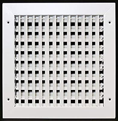 """14"""" X 14"""" Adjustable AIR Supply Diffuser - HVAC Vent Cover Sidewall or Ceiling - Grille Register - High Airflow - White [Outer Dimensions: 15.75""""w X 15.75""""h]"""