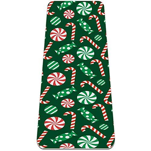 Esterilla de yoga, antideslizante, 1/4 pulgadas (6 mm) de grosor, 183 × 61 cm, TPE Fitness Mat para hombres y mujeres-verde caramelo de Navidad