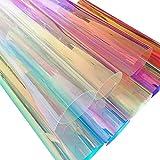 ZAIONE - Lámina holográfica de PVC transparente holográfica con efecto espejo láser para zapatos, bolsas, costura, manualidades, apliques