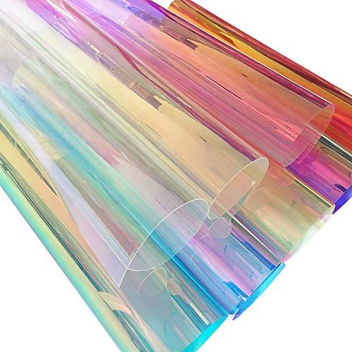 Zaione PVC holografische transparente Folie holografisch transparente Vinyl verspiegelte Folie Laser Grafik Stoff für Schuhe Taschen DIY Basteln , PVC-Material, 8 Farben, A4 Sheets
