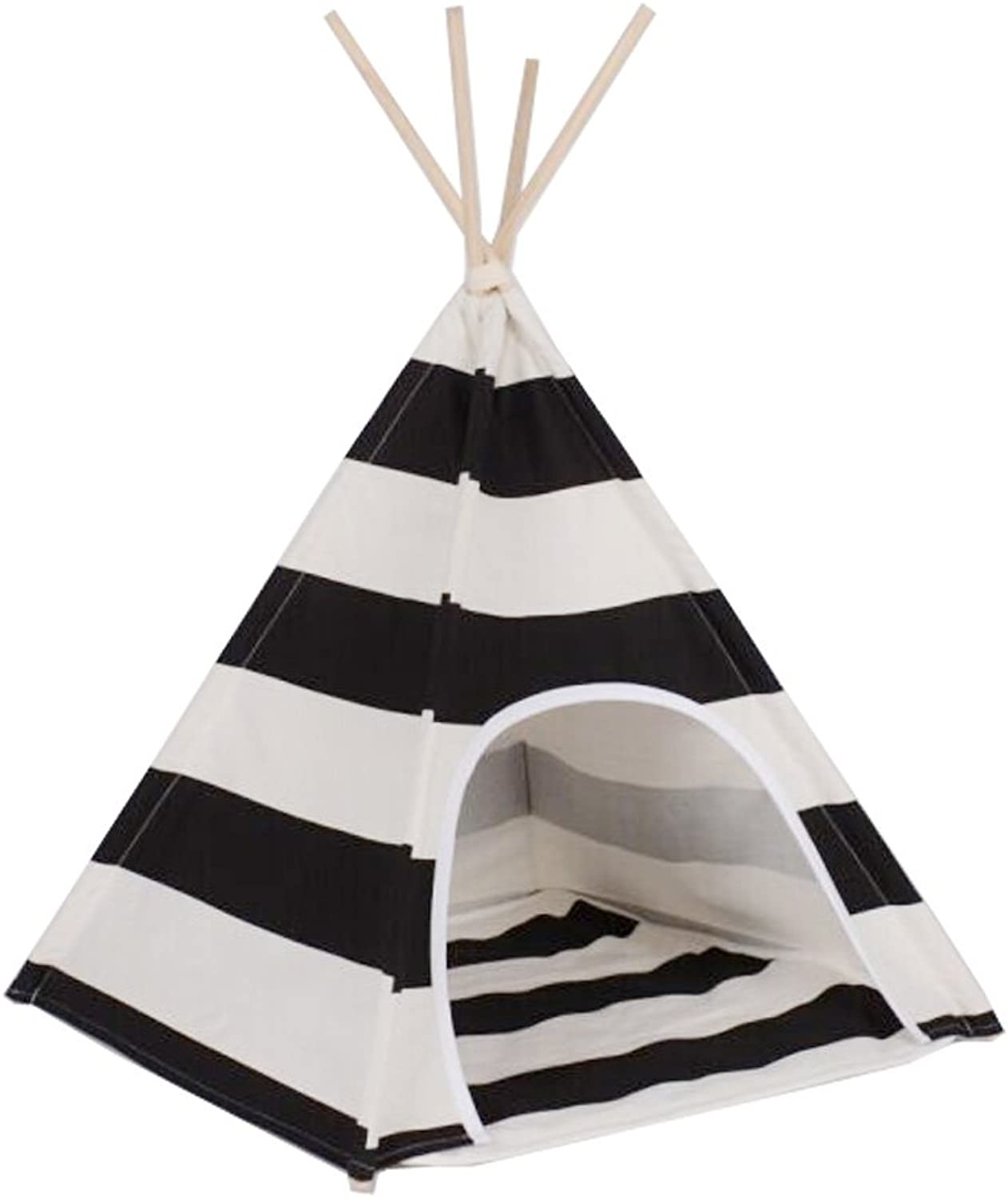 Free   White and Black Stripe Design Pet Kennells Pet Play House Dog Play Tent Cat /Dog Bed