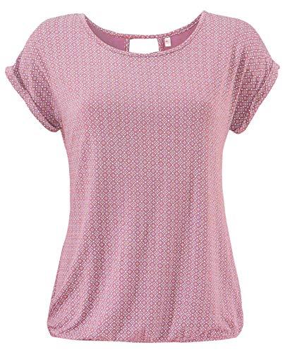 ELFIN Damen T-Shirt Kurzarm Blusen Shirt mit Allover-Minimal Print Lose Stretch Basic Tee, Rosa, XXL