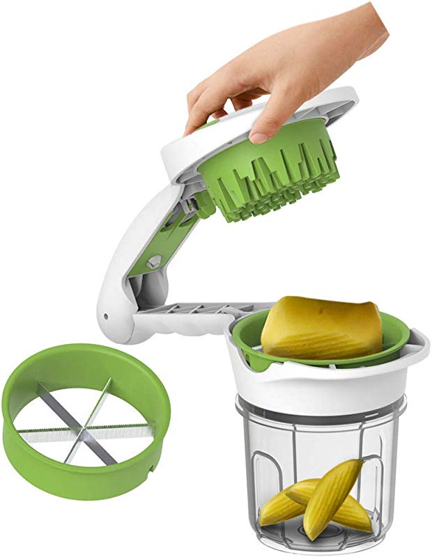 Efaster Fruit Vegetables Cutter 5 In 1 Multi Function Easy Fruits Cutter Chopper Slicer Column Egg Cutter Crusher Perfect For Kitchen Cooking Xmas New Year Dinner Party Green