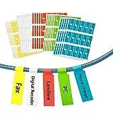 Étiquette de câble, ZoomSky 750 Pcs Identification Câble Auto-adhésif Marqueur Câble Étanche Étiquettes Résistant à la Déchirure Pour Marquer Identifier, (25 Feuilles 5 Couleurs)