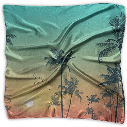 Merle House Tropische Palmen bei Sonnenuntergang Frauen bedruckten quadratischen Schal Kopfschmuck Hals Satin Schals Wickeltuch Halstuch