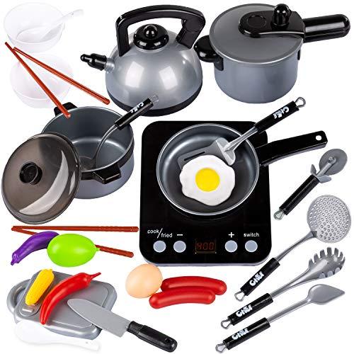 Kinderplay 26 pcs Kit de Cocina para Niños Accesorios, Juguetes de Cocina Set,Juego de Cocina con Utensilios de Cocina, Regalos de Fiestas, Cumpleaños, Navidad para Niños, KP6811