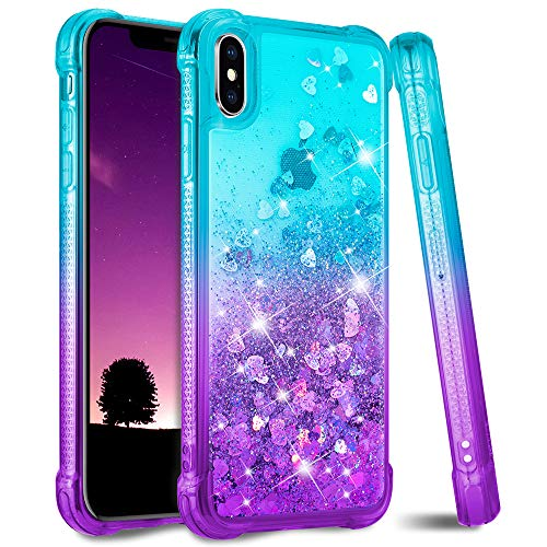 Ruky iPhone X Case, iPhone Xs Case, Glitter Bling Flowing Liquid Floating Soft TPU Bumper Cushion Reinforced Corners Girls Women Phone Case for iPhone X Xs 5.8 inches (Teal Purple)