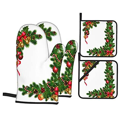 Guanti da forno e presine Set 4 pezzi,Decorazioni natalizie con albero di abet,Guanti da forno resistenti al calore antiscivolo per cucina, cucina, barbecue, grigliate