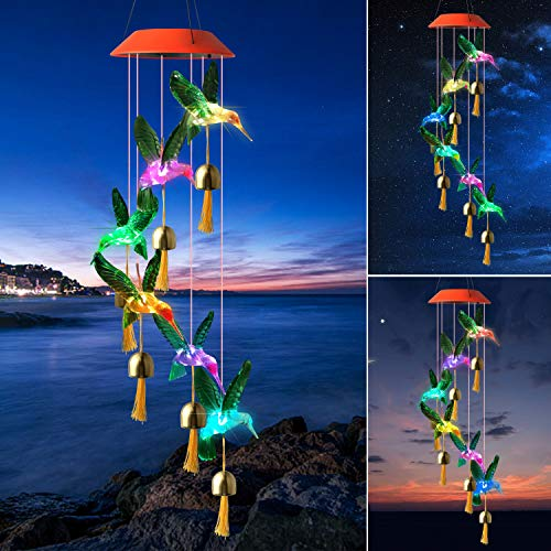 Grneric Color Changing Solar Wind Chimes Green Hummingbird Wind Chimes Halloween Christmas Party Night Light Windchimes Solar-Powerd String Light Wind Chime Red top