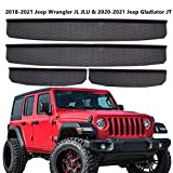 Door Sill Guards Entry Scuff Plate Cover for 2018-2021 Jeep Wrangler JL JLU & 2020-2021 Gladiator JT 4 Door Front & Rear Plate Panel Step Protector Cover Replace 82215394(4pcs)
