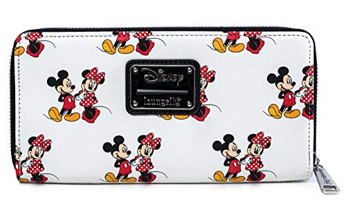 Loungefly Disney Mickey and Minnie Mouse All Over Print Zip Wallet