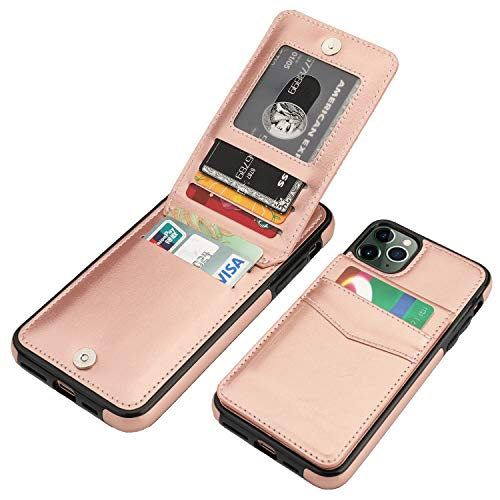 KIHUWEY iPhone 11 Pro Max Case Wallet with Credit Card Holder, Premium Leather Magnetic Clasp Kickstand Heavy Duty Protective Cover for 11 Pro Max 6.5 Inch(Rose Gold)