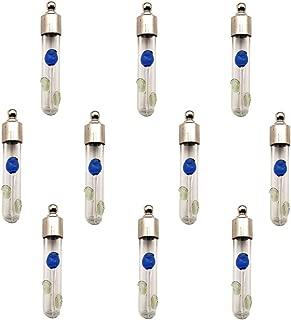 10 Pieces 3D Raised Flower Glass Vial Pendant Necklace Pendant, Wish Bottle Charms Glass Locket (Blue Rose)