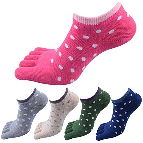 Panegy Damen 5 Paar Atmungsaktiv Kurze Zehensocken für Sports und Freizeit, geeignet für Zehenschuhe, aus Baumwolle(85{f8eed19759b0ecbf2ebf71cef0a87980101e21fb8d1944c7c12eb3157d250801}) und Spandex - Gepunktet