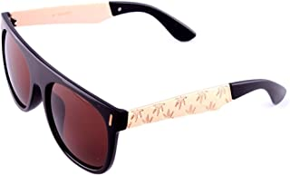 Black & Gold Engraved Metallic Weed Leaf Wayfarer Sunglasses Brown Lenses
