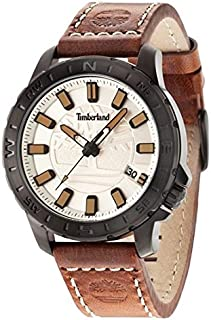 Timberland Men's Quartz Watch with Beige Dial Analogue Display and Brown Leather Strap TBL.14647JSB/07
