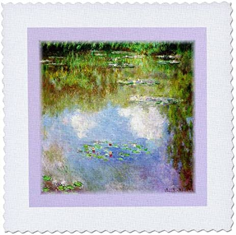 3dRose qs 45041 1 Monets Water Lilys with Violet Border Quilt Square 10 by 10 Inch product image