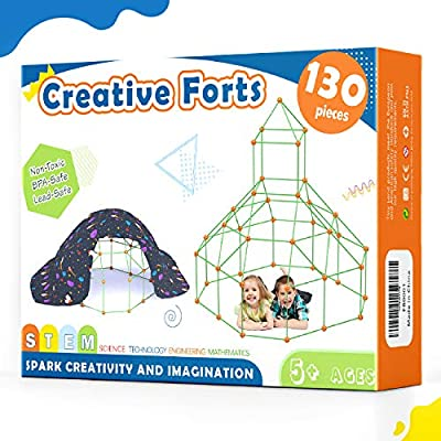 Tiny Land Kids-Fort-Building-Kits-130 Pieces-Creative Fort Toy for 5,6,7 Years Old Boy & Girls- Learning Toys DIY Building Castles Tunnels Play Tent Rocket Tower Indoor & Outdoor