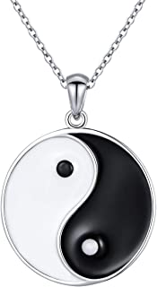 S925 Sterling Silver Yin Yang Tai Chi Pendant Necklaces for Men Women