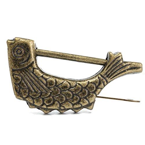 MASUNN Chinese antieke oude stijl retro messing hangslot sieraden doos vis patroon slot met sleutel