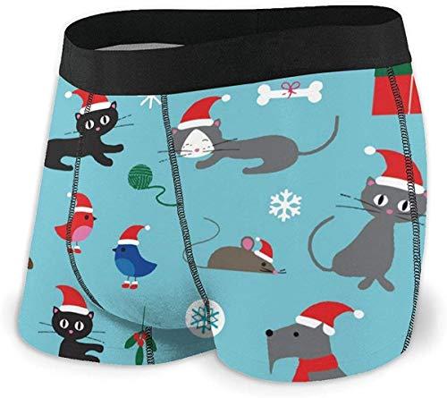 RROOT Heren Ultra Zacht Ondergoed Trunk Blauw Kerst Katten en Honden Boxer Briefs