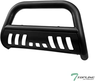 Topline Autopart Matte Black Bull Bar Brush Push Front Bumper Grill Grille Guard With Skid Plate For 97-03 Ford F150 / F250 / 04 Heritage / 97-02 Expedition