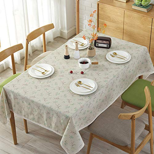 HTUO Tablecloth Wipe Clean Small Floral Tablecloth Cotton Linen Table Cover Christmas Decoration Dustproof Cover Towel Dining Table Pastoral Tablecloth Coffee Table Kitchen 90 * 90cm