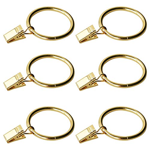 Coideal Gold Metal Curtain Ring with Clips, 30 Pack Rustproof Decorative Drapery Rail Rings Hook Clips for Curtain Rod Pole (35 mm)