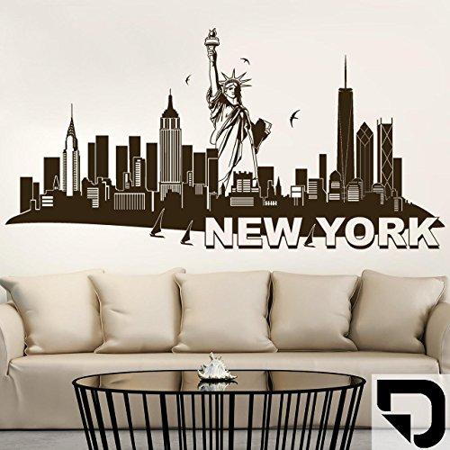 DESIGNSCAPE® Wandtattoo New York mit Freiheitsstatue 200 x 101 cm (Breite x Höhe) schwarz DW806024-L-F4
