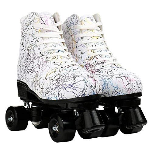 litulituhallo Womens Roller Skates Graffiti High Top Double Row Adjustable with Flashing White Black Size 39