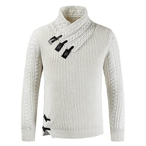 Jersey para Hombre, suéter, Cuello Vuelto, botón, Tendencia, Tejido de Cable, Manga Larga, Prendas de Vestir Exteriores, Ocio, Informal, Color Puro XL