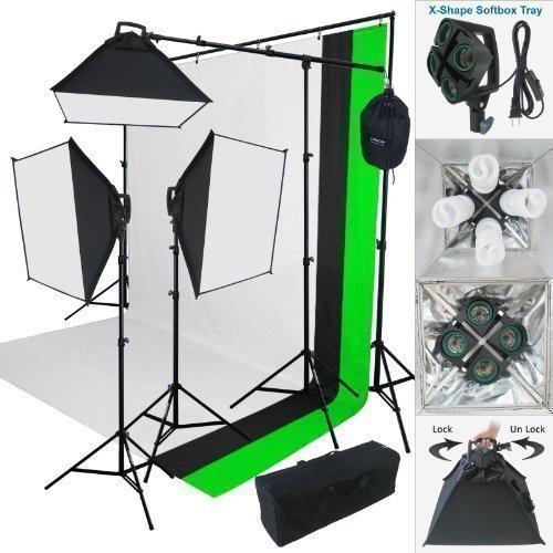 Linco Lincostore 2000 Watt Photo Studio Lighting Kit with 3 Color Muslin Backdrop Stand Photography...