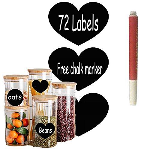 72pcs Heart Pattern Chalkboard Label Chalk Pen Stickers, Heart Vinyl Chalkboard Stickers - Drink/Wine Markers, Weddings, Wall Kitchen Cup Bottle Decor Sticky Decal Gift +1 White Liquid Chalk Marker