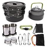 Camping Kit de Utensilios 9 Piezas Juego de Utensilios de Cocina Al Aire Libre de Aluminio Ligero Camping Pot Pan Set Para 2 A 3 Personas de Cocina Camping Pot Senderismo Picnic ( Color : Black )