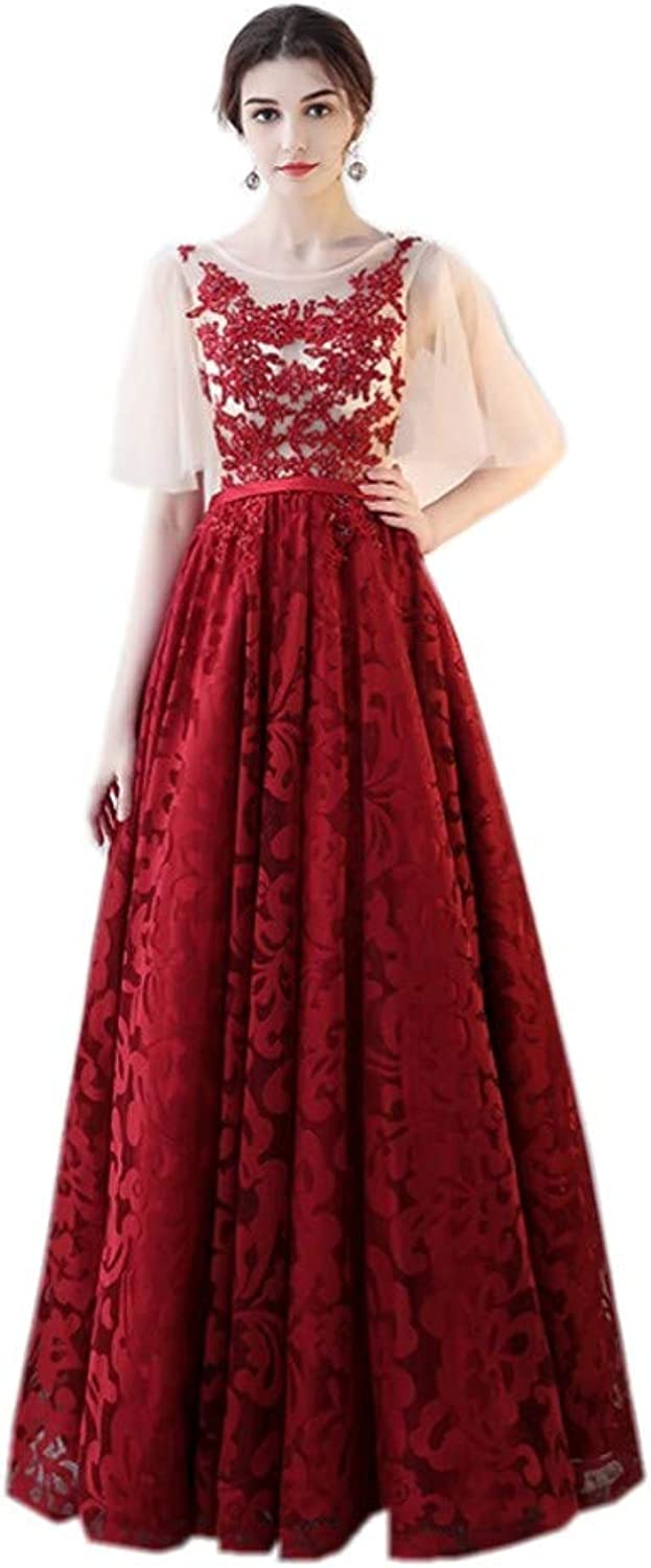 Darcy74Dulles Women's Round Neck Tulle Appliques Long Evening Cocktail Gowns
