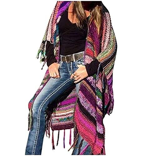OCEYEE Ponchos de punto de invierno con estampado multicolor étnico de punto de viento Cardard Bat manga borla abrigo, hot pink, 4XL