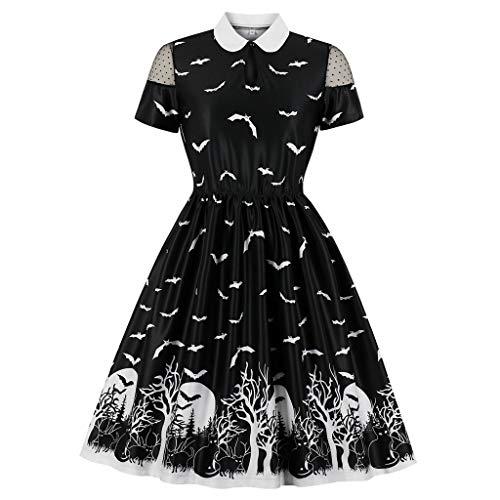 Benbzh Halloween-jurk met kant bedrukt zwart avondjurk kant retro Halloween korte mouw voor dames zwaaien pompoen jurk zwart, S, Blanco Y Gris