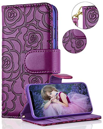FLYEE Case Compatible with iPhone 12/12 Pro (6.1 inch,2020 Release),Wallet Case for Women and Girls with Card Holder,Premium Leather[Embossed Flower] Flip Case Protective with Wrist Strap-Purple