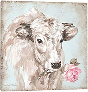 iCanvasART Cow with Rose II Canvas Print by Debi Coules, 18