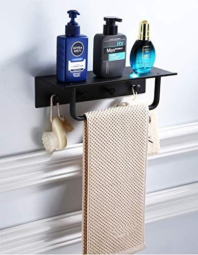 DAMO & GUYAN handdoekhouder wand badkamer plank zwart aluminium 40 50 cm douchebak met bar en haak drijvende rekken voor shampoo handdoekhouder hoek opslag