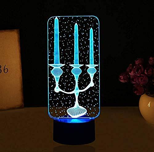 Kaars 3D lamp LED USB tafellamp Kleurrijke sfeer LED Nachtlampjes Touch-schakelaar voor vakantie Decoraties
