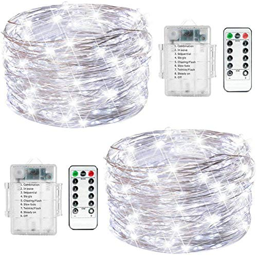 Fairy String Lights, 2 Set 33ft 100 Led Fairy Lights Battery Operated Silver Wire Lights with Remote Control, 8 Mode Waterproof Lights for Home Garden Bedroom Centerpiece Wedding Party (Cool White)