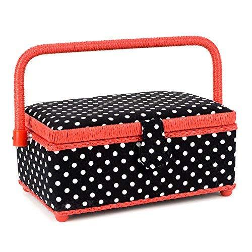 Prym Polka Dots - Cesta de costura con compartimientos en interior, 25 x 15 x 12 cm, color negro, rojo y blanco