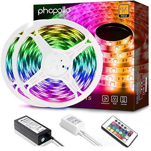 Phopollo LED-Lichtstreifen, 10 m, 600 LEDs, wasserdicht, flexibel, mit IR-Fernbedienung und 12 V Netzteil für Schlafzimmer, Haus und Heimdekoration